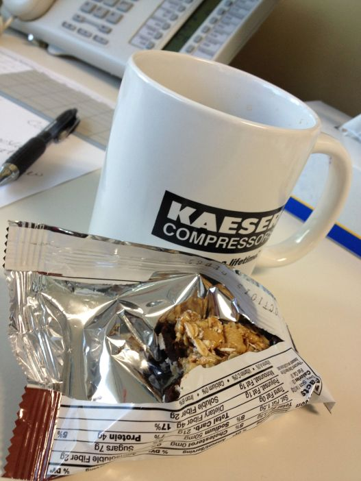 Breakfast of champions: coffee and a Kashi bar.