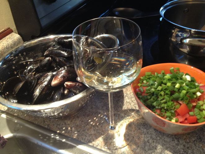 Dinner preparation under way.