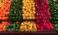 Layers of peppers at a grocery store in Panama
